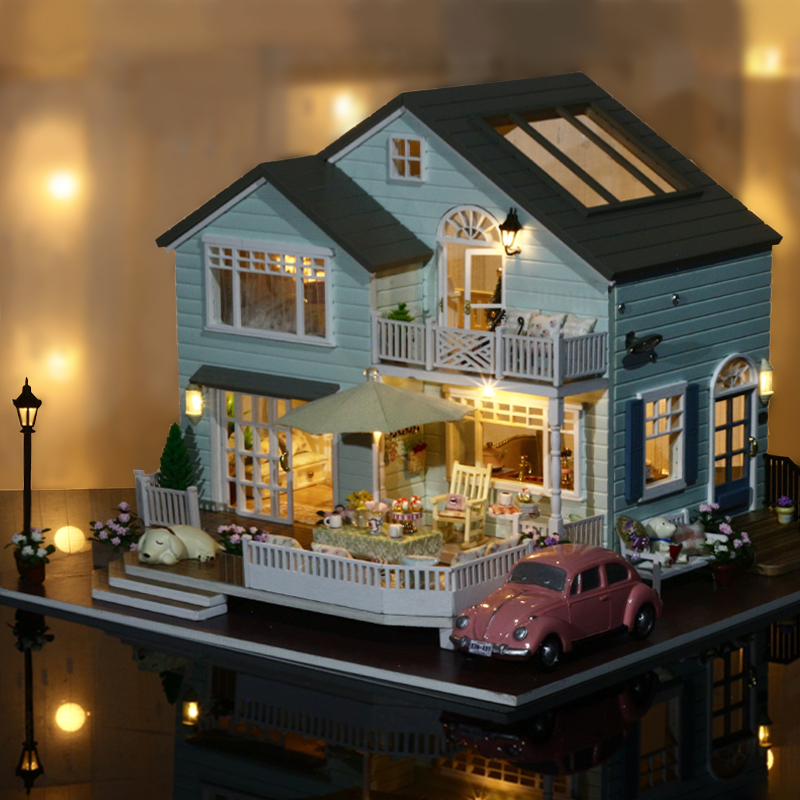 Elegant DIY Doll House Miniature Model With Furnitures LED 3D Wooden House Handmade Toys Birthday Gifts A035 #D
