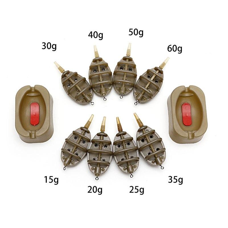 1 Unidades en línea método carpa pesca alimentador 4 alimentadores 15/20/25/35g 30/40 /50/60g molde los accesorios del trastos de pesca