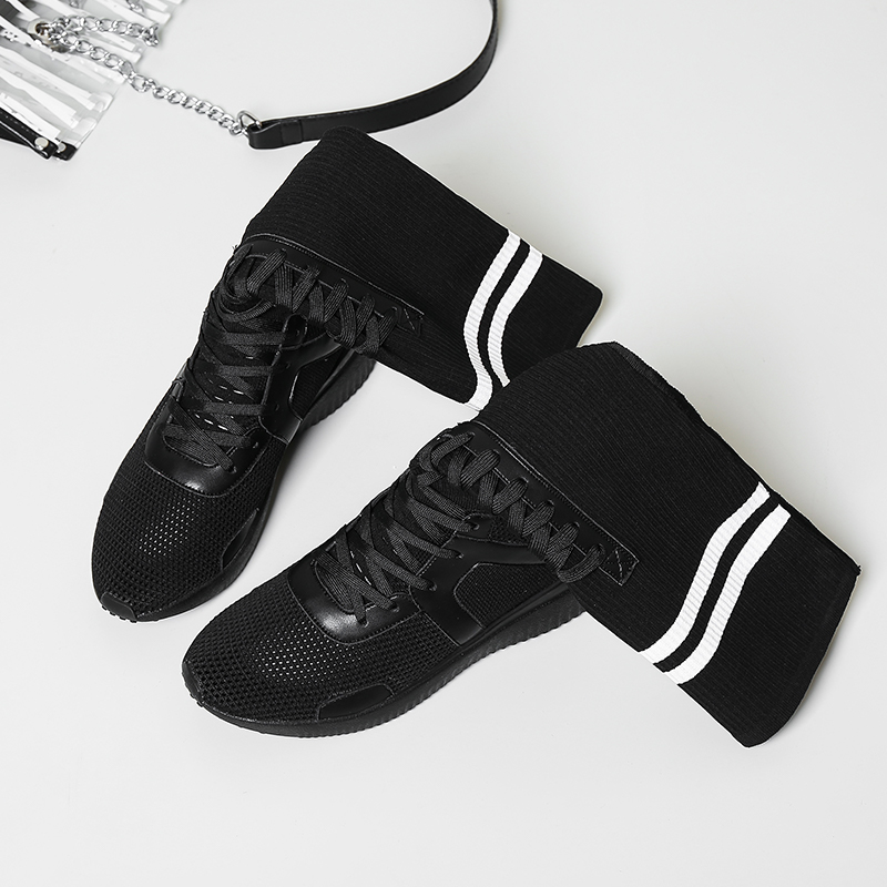 Diseño Confort Black En Marca Mujeres Tejido Los Botas Las Ocio Mid Cuero Antideslizante De Otoño white calf Patchwork Genuino Snakers Malla Estiramiento Zapatos pOUc4vqPw