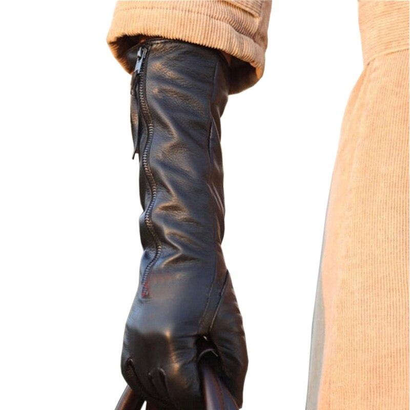 Gants En Cuir Véritable pour femmes Femme Automne Hiver Noir Gants En Peau De Mouton Longue Fermeture À Glissière Style Cinq Doigts de Velours Mince L031NQ