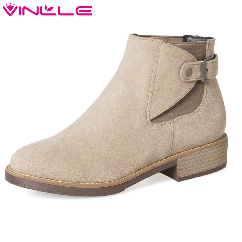 VINLLE 2018 Women Shoes Ankle Boots Square Med Heel Buckle Casual Round Toe Black  Khaki Ladies Motorcycle Shoes Size 34-43 vinlle 2018 women boots shoes ankle boots square high heel round toe slip on beige ladies motorcycle shoes size 34 43