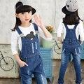 Meninas Denim Macacão Crianças Macacão de Algodão Babadores Para Bebês Crianças Bib Calças Calças Casuais Crianças calças de Brim Macacão Menina Cair Roupas Calças 4-14Y