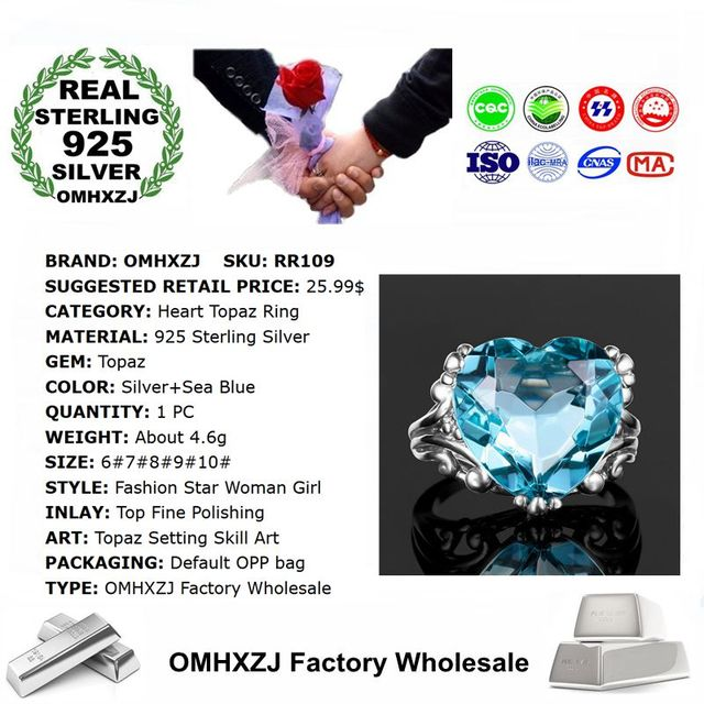 Blue Heart Topaz Sterling Silver fashion Ring  2