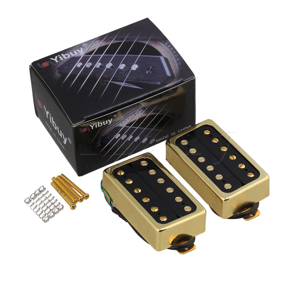 Yibuy Golden Humbucker Bridge and Neck Pickups Set for Electric Guitar 5 string bass guitar pickup humbucker pickups for electric bass bridge and neck set parts replacement black