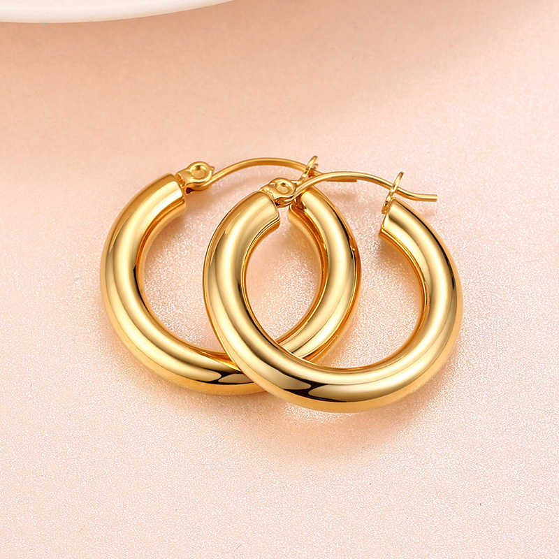 Huggie Hoop Earrings Gold Filled Stainless Steel Medium Thick Charm Bohe Female Cartilage Piercing Dropshipping