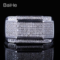 BAIHE Solid 10K White Gold Certified Round cut 100% Genuine Natural Diamonds Wedding Women Fine Jewelry Elegant unique Gift Ring