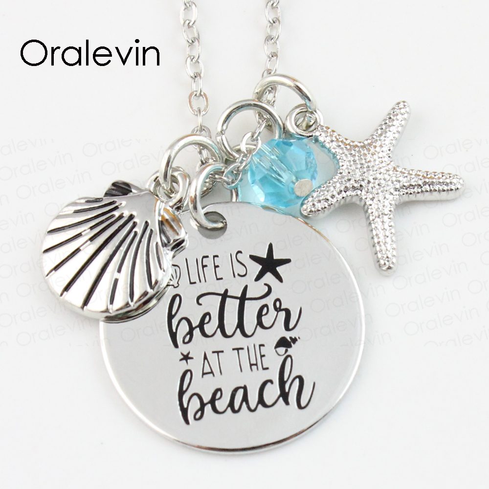 Wholesale LIFE IS BETTER AT THE BEACH Engraved Disc Pendant Charms Necklace Lover Gift J ...