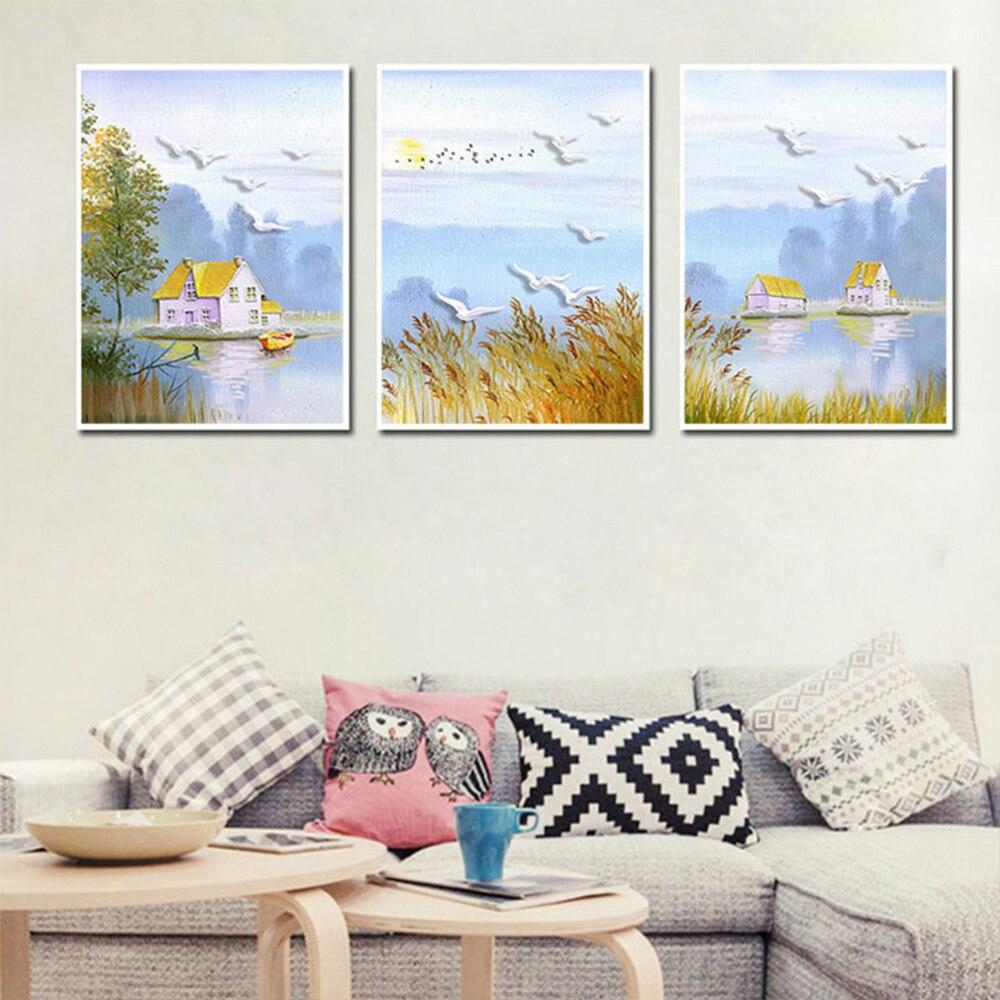 Unframed HD Pastoral Landscape Canvas 3 Art Paintings Landscape Bird Painting Living Room Mural Home Decoration