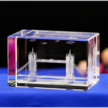 Handmade 3D Laser Engraved Crystal Block Glass Led Engraving Cube With Rotary Music Base for Christmas Present