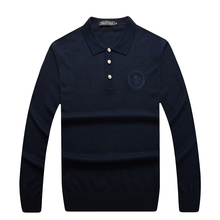 Sweater men s 2016 launching autumn business casual comfortable embroidery plus size solid color wool clothing