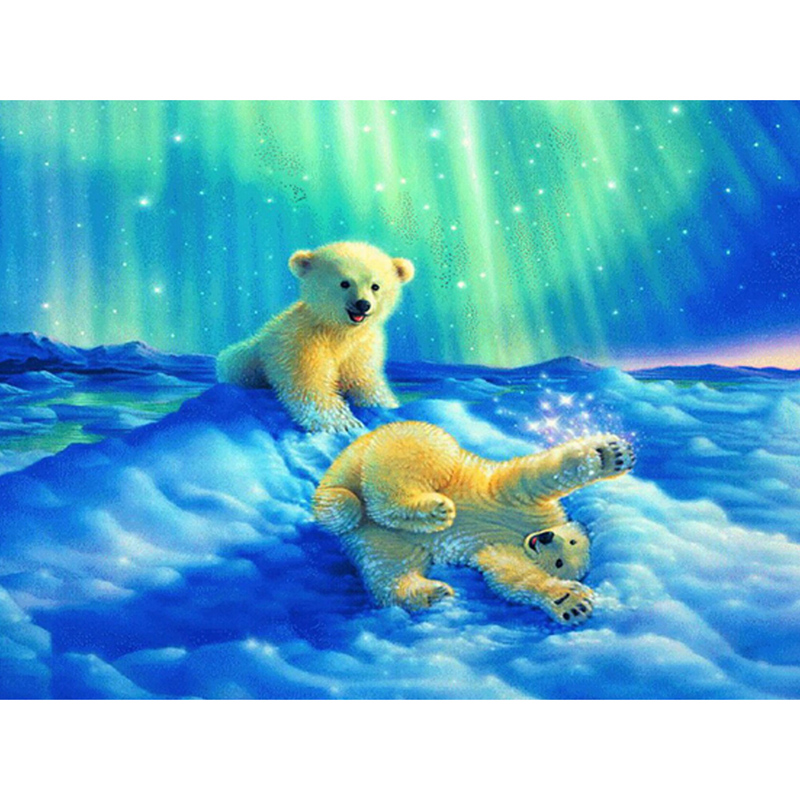 Glymg Diamond qëndisje Snow Bear Blue Sun Manual Produkt Diamond Painting Cross Cross Stitch Playing Bear Cute Bear Full Mozaik Picture