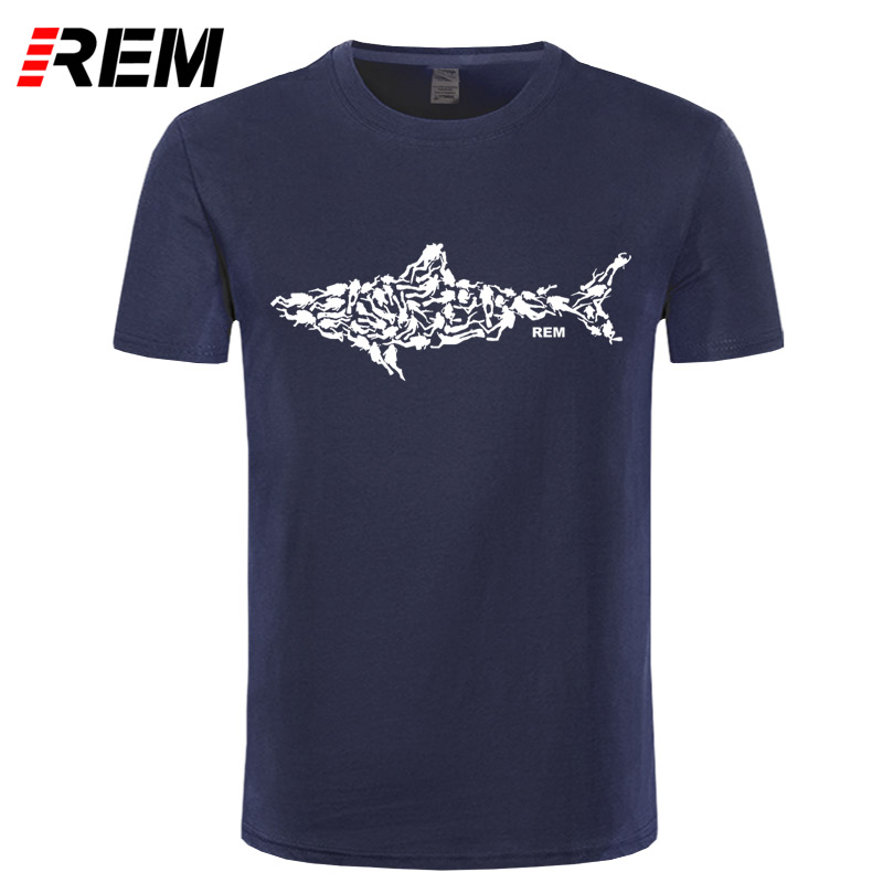 REM Shark Scuba Diver T-shirt Tee Divinger Dive Funny Birthday Gift Present For Him Men Adult T Shirt Short Sleeve Cotton