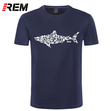 Фотография REM Shark Scuba Diver T-shirt Tee Divinger Dive Funny Birthday Gift Present for Him Men Adult T Shirt Short Sleeve Cotton