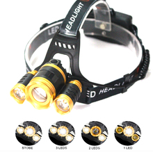3 LED Headlamp XML T6 10000LM Headlight frontale Flashlight 4 Mode Torch Lights with Car Charger With 18650 Battery UK/US/EU