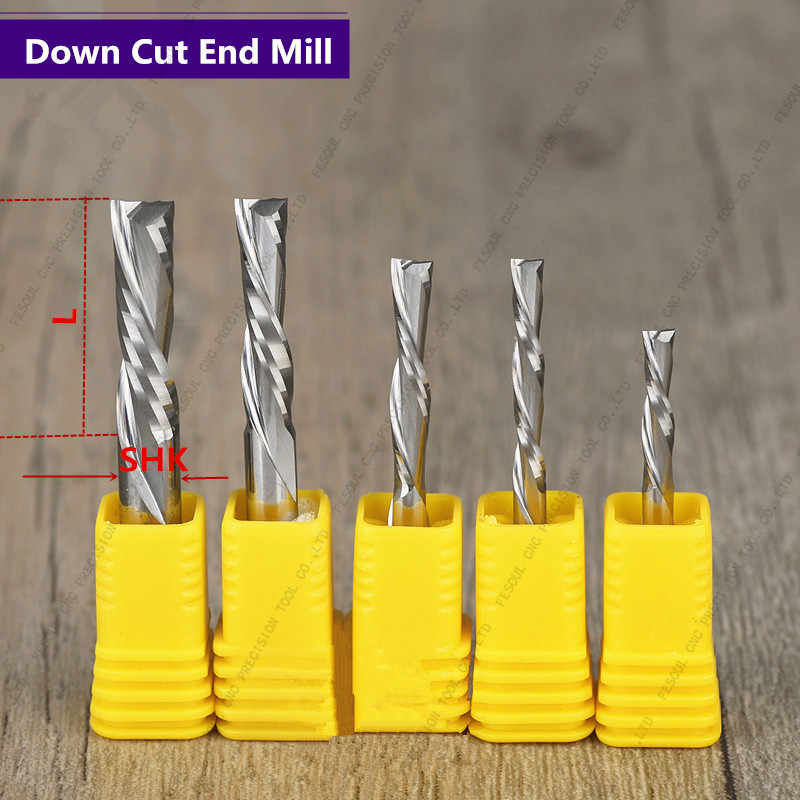 5 PCS 1 Single Flute Down Cutter end mill,Left Helical