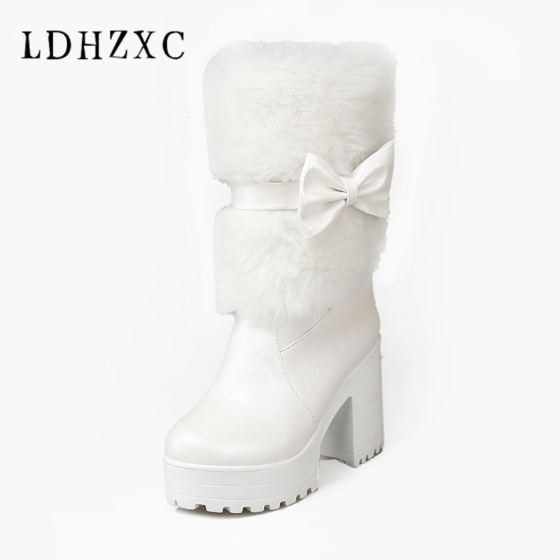 LDHZXC 2018 Winter Women Snow Boots Warm Mid Calf Boots Platform strap Slip On Casual Women Flock Rubber Shoes plus size 11 12 women shoes wedges platform knee high boots winter snow booties slip on flock rubber women boots black plush warm soft shoes
