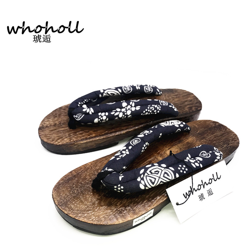 81b65569bd14 WHOHOLL Geta 2018 Summer Sandals Men Flat Round toe Japan Wooden Shoes  Clogs Slippers Flip-