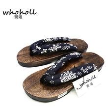 WHOHOLL Geta 2018 Summer Sandals Men Flat Round toe Japan Wooden Shoes Clogs Slippers Flip-flops Man Slides Beach Sandals Shoes стоимость