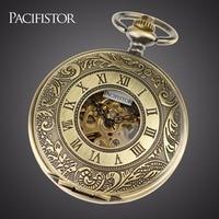 INFANTRY Pocket Watch Mechanical Skeleton Pocket Watches Men Full Metal Alchemist Steampunk Keychain Fob Clock Vintage Chain
