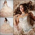 Vestidos Quinceanera 2017 Champagne Prom Vestidos Querida Crystal Bead Ruffles Strass Espumante Vestido de Baile vestido de Baile t62