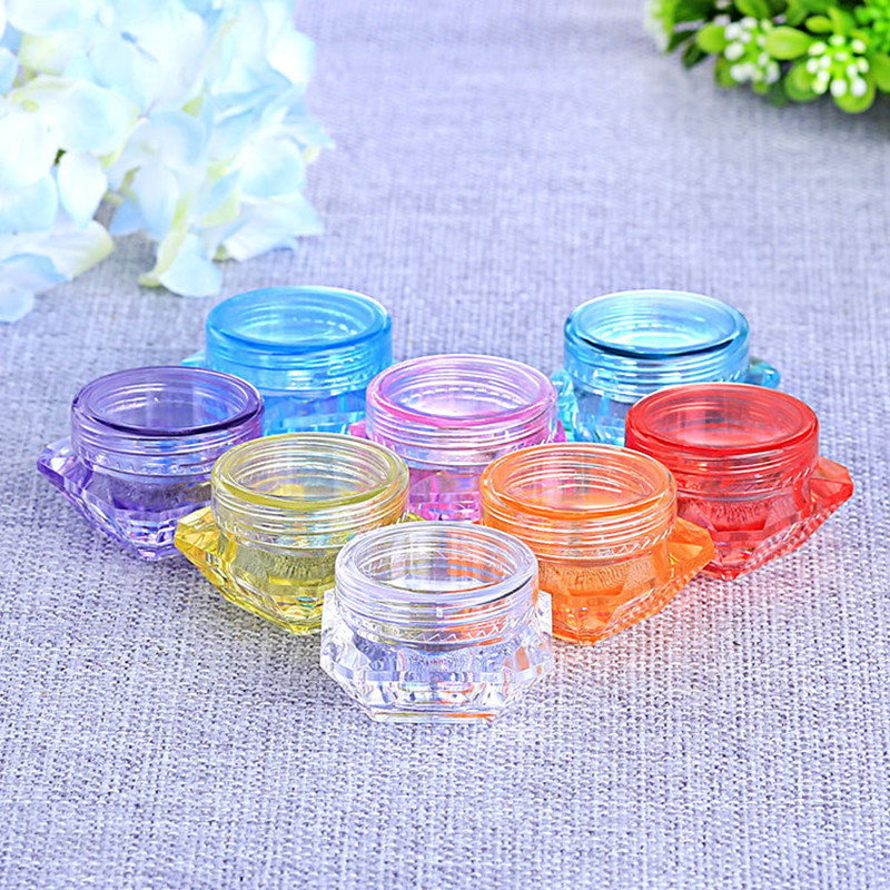 3g Empty Plastic Cosmetic Makeup Jar Pots Mixed Color Diamond Container Sample Bottles Lip Balm Container Storage Box