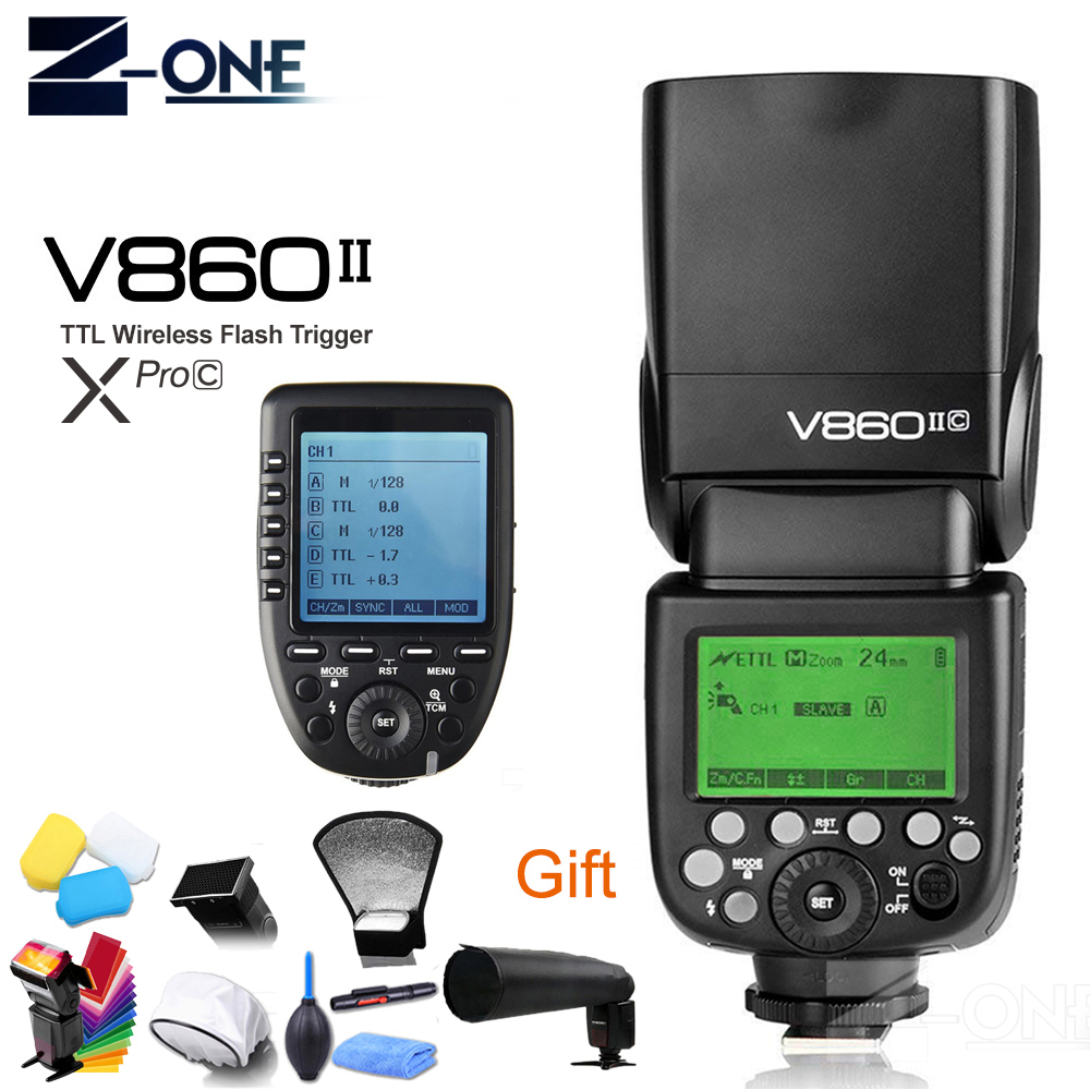 Godox V860II-C V860IIC Speedlite GN60 HSS 1/8000s TTL Flash Light +Xpro-C Wireless Flash Trigger Transmitter for Canon EOS godox v860ii c v860iic speedlite gn60 hss 1 8000s ttl flash light x1t c wireless flash trigger transmitter for canon eos