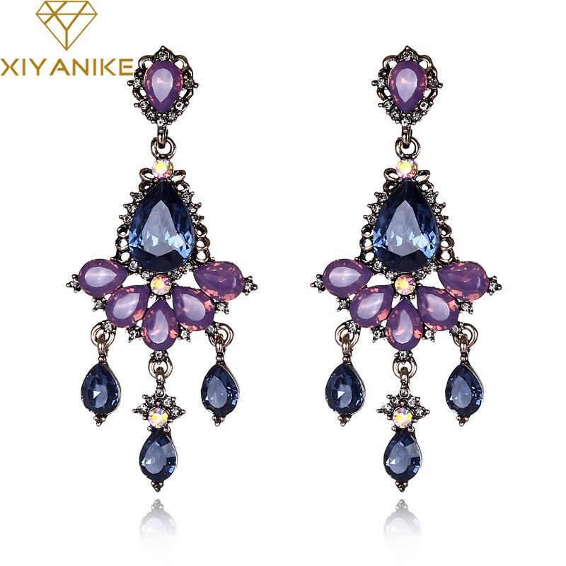XIYANIKE Brand Vintage Elegant Luxury Purple Stone Crystal R