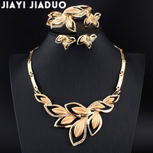 jiayi jiaduo New African Bridal Jewelry Set Gold color Necklace & Earrings Flower for Women Gifts Wedding Accessories