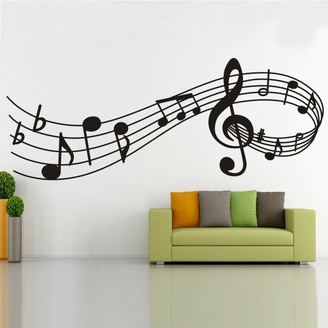 10pcs/Pack Music Melody Vine Wall Sticker Mural Decal Children Kids Bedroom Decor Nursery Family Quote