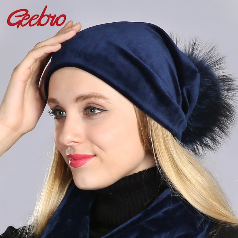 Geebro Brand Women's Pom Pom Beanie Hat Casual Velvet Skullies Beanies Polyester Knitted Hats Raccoon Fur Pompom Beanies Hat