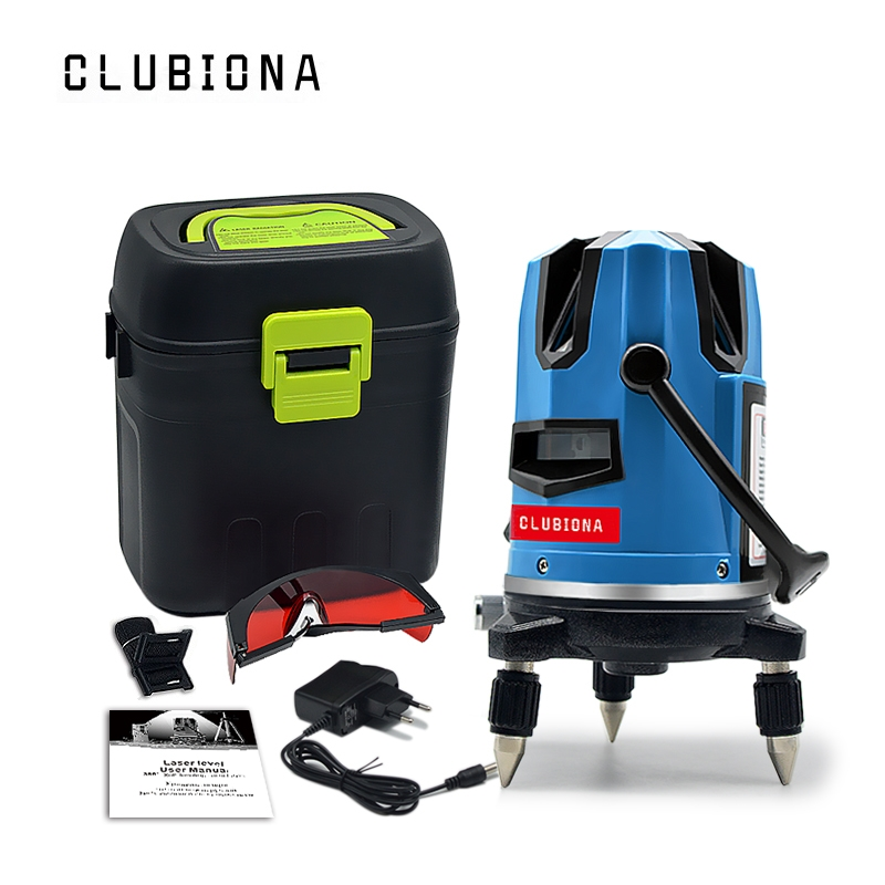 CLUBIONA 5 635nm laser linhas 6 pontos 360 graus rotativo barra disponível auto linha mode-receptor e inclinação ao ar livre nível do laser