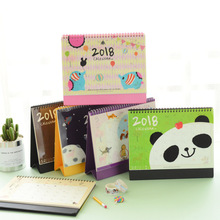 2018 Cute Animal panda Cartoon Office Planner Standing Print Desk Table Calendar For 2018 Agenda Plan chronicle desk calendar