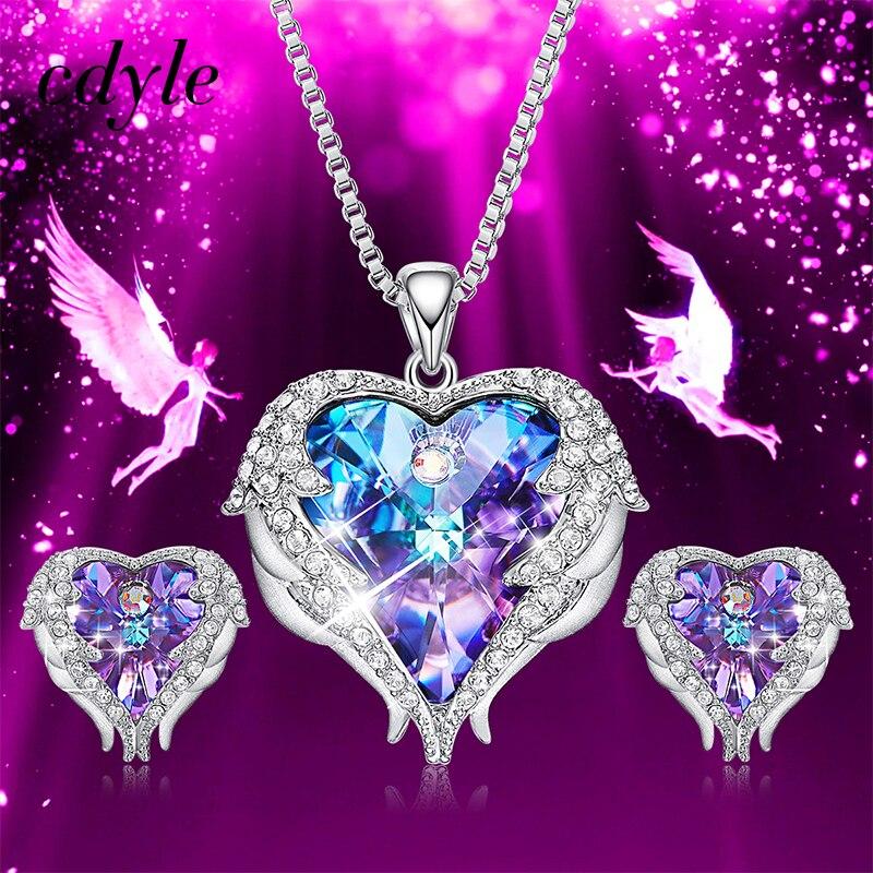 Cdyle Kristalle von Swarovski Engel Flügel Halsketten Ohrringe Lila Blau Kristall Herz Anhänger Schmuck-Set Für Frauen Liebe Geschenke