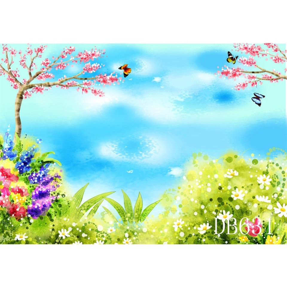 Spring 10x15 FT Photo Backdrops,Little Butterfly Silhouettes with Foliage Flora and Fauna Illustration Background for Kid Baby Boy Girl Artistic Portrait Photo Shoot Studio Props Video Drape Vinyl
