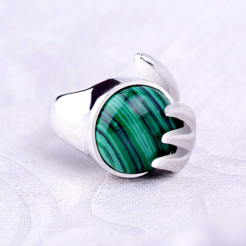 หินธรรมชาติ Malachite การตั้งค่าพระพุทธรูปมือ Claw Bless อัญมณีแหวนเงิน 7/8/9 ขนาดแหวนคริสตัลสำหรับผู้หญิงผู้ชายเครื่องประดับ