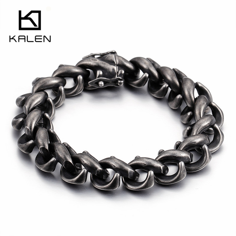 Kalen 2017 New 316L Stainless Steel Link Chain Bracelets For Men Rock Matte Brushed Hand Chain Wrap Bracelets Halloween Jewelry candy coloured string hand chain bracelets