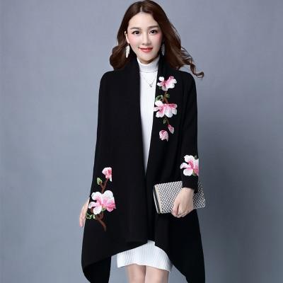 Элегантный кардиган, свитер, плащ, пальто для женщин, Цветочная вышивка, кимоно, Осень-зима, длинное женское пальто, длинный рукав, Тренч - Цвет: Черный