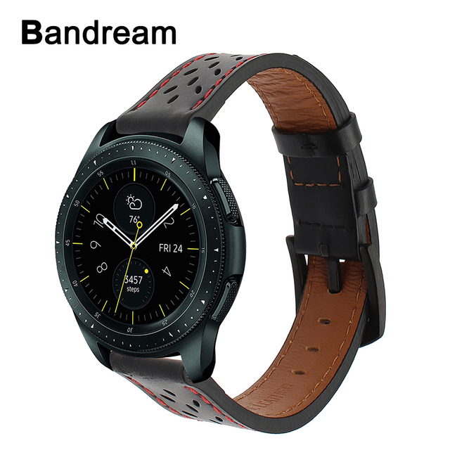 20mm 22mm Top Layer Genuine Leather Watchband for Samsung Galaxy Watch 42mm 46mm