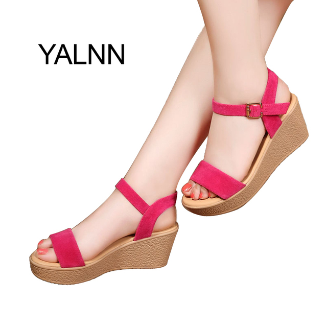 YALNN Women Shoes Sandals Summer Fashion Black Pink Cover Heel Women Sandals  Female Shoes for Girls