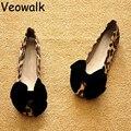 Veowalk Большой Размер 35-43 натуральная кожа обувь женщина sapatos femininos дамы плоский каблук сладкий лук леопарда Мягкое Дно плоские Туфли
