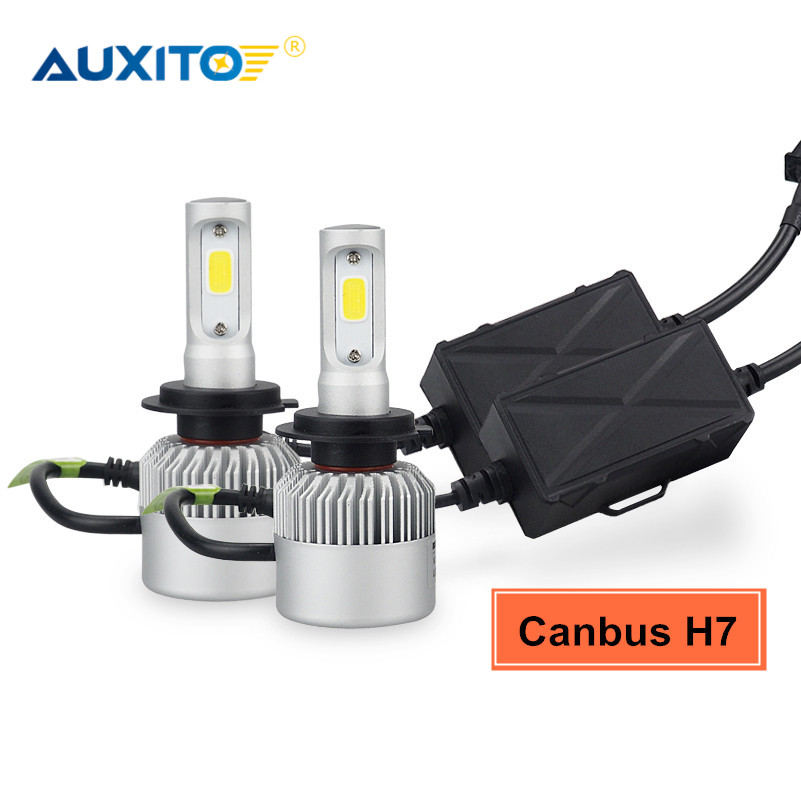 AUXITO 2x No Error COB H7 LED Headlights Bulb CANBUS Car Headlamp Fog Light 16000LM 6000K For Volkswagen VW Golf 4 2000-2006 high bright car headlights led bulb d33 h1 free canbus auto led white headlamp with yellow lights for vw jetta volkswagen golf 6