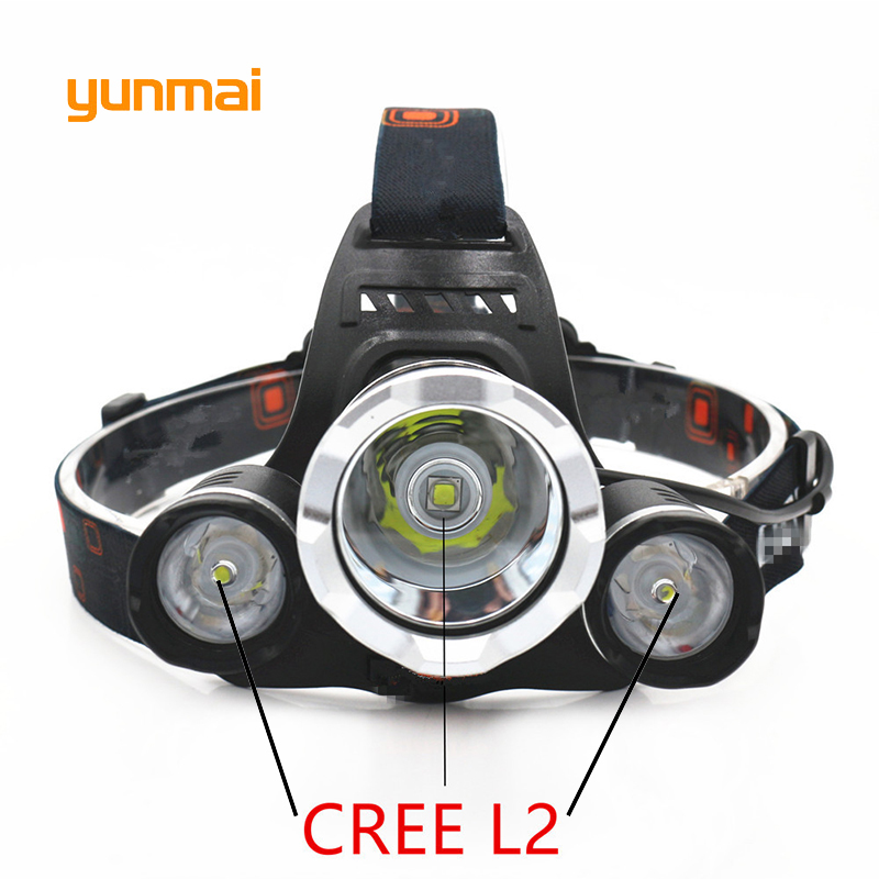 Powerful 12000 Lumen 3 NEW XML L2 Headlamp Headlight Head Lamp Light Flashlight Rechargeable Lantern Fishing Hunting Lights in Headlamps from Lights Lighting