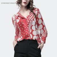 Fashion Big Polka Dots Printed Chiffon Shirt Women Long Sleeve Button Up Tops Loose Plus Size 4XL Female Summer Casual Blouses