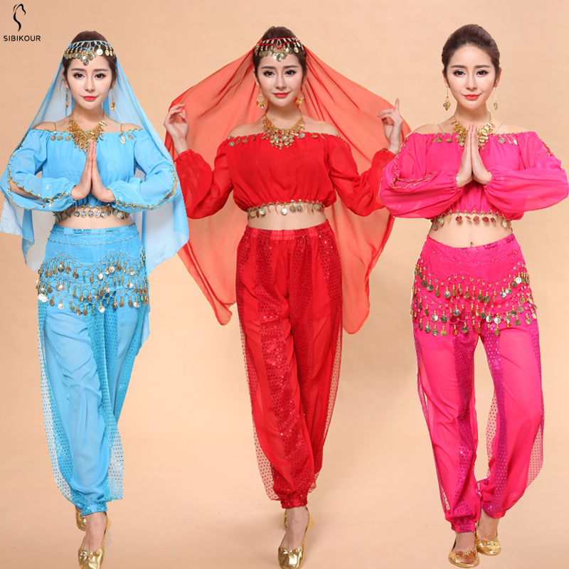 Belly Dance Costume Sets Bollywood Oriental BellyDance Dress For Adult Women Egypt Egyptian Suit Dancing Wear Long Sleeves 2019