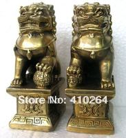 0116P Fast shipping Chinese Foo Dog Lion Fu Bronze Statue Pair Figurines Feng Shui Items Oriental sz:11x6x8.3cm (A0314)