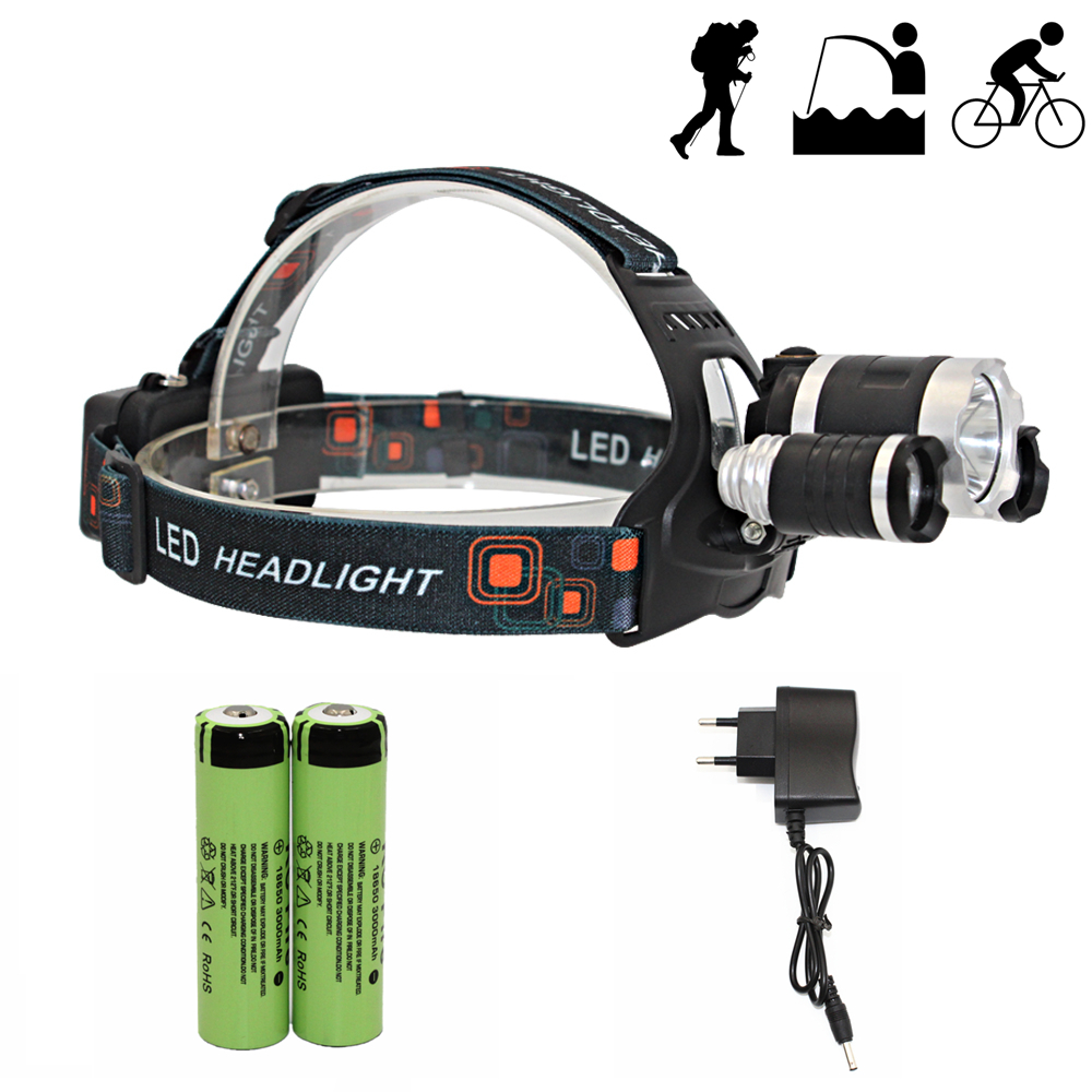 Hunting Headlamp 3 LED Headlight White Red Light Rechargeable Head Lamp 4 Mode Light Flashlight + 18650 Battery + AC Charger kinfire k40x 4 led 2400lm 3 mode white flashlight gray 4 x 18650