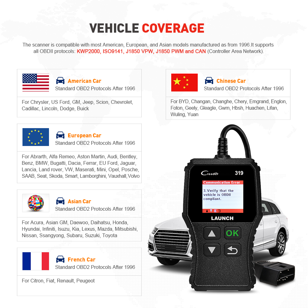LAUNCH X431 CReader 319 Full OBD2 EOBD Code Reader Scanner 2