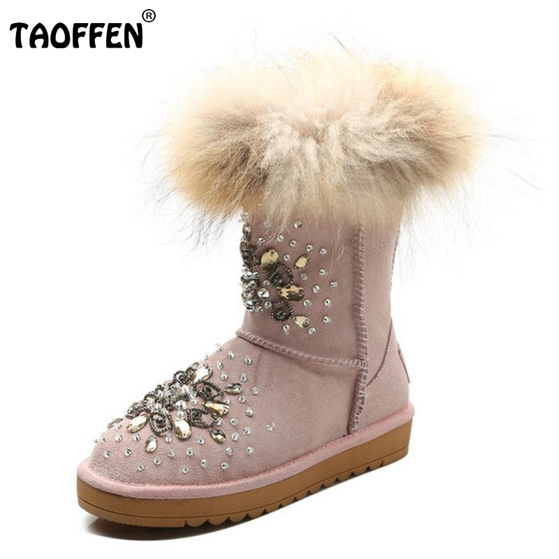 ФОТО Genuine Leather Plush Thickend Fur Winter Women Boots Half Snow Boots Fashion Crystal Women Shoes Sapato Feminino Size 33-40