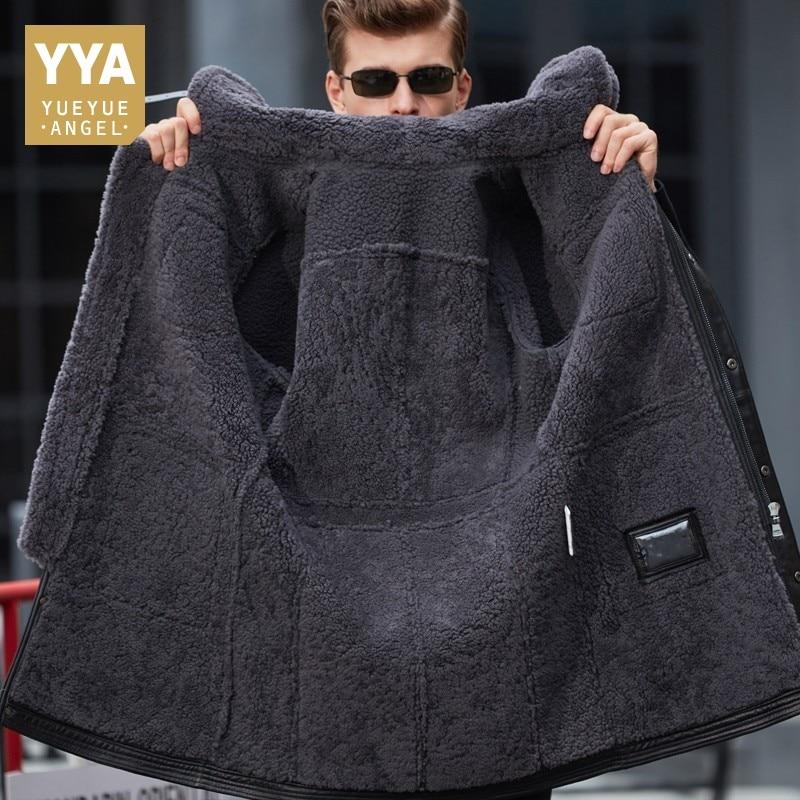 Fashion 100% Real Sheepskin Fur Men Coat Genuine Full Pelt Sheep Shearling Mens Winter Jacket Slim Fit Black Men Fur Outerwear