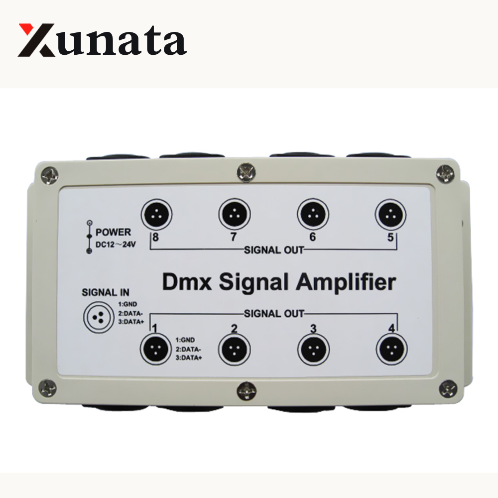 DMX signal amplifier 8 Channel Output DMX512 LED Controller stage control station head shaking lamp Splitter Distributor 12-24V цена